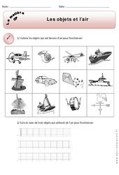 Objets - Air - Exercices - Matière - Découverte du monde : 1ere Primaire