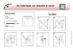 Je fabrique un moulin à vent - Exercices - Matière - Découverte du monde : 1ere Primaire