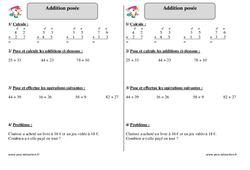 Addition posée - Exercices corrigés - Mathématiques : 2eme Primaire