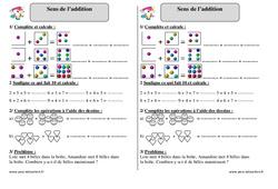 Sens de l'addition - Exercices corrigés - Mathématiques : 2eme Primaire
