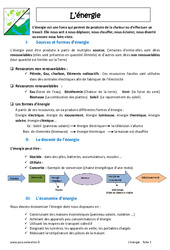 Energie - Cours : 6eme Primaire