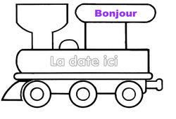 Petit train - Emploi du temps - Journée - Affichages pour la classe : 1ere, 2eme, 3eme Maternelle, 1ere Primaire