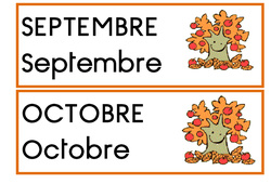 Etiquettes - Mois pour date - Affichages pour la classe : 1ere, 2eme, 3eme Maternelle, 1ere Primaire