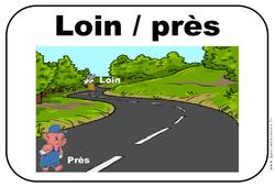Près - Loin - Affichages pour la classe : 1ere, 2eme, 3eme Maternelle - Cycle Fondamental
