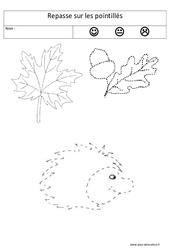 Repasse sur les pointillés - Graphisme : 1ere, 2eme Maternelle - Cycle Fondamental