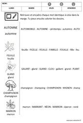 Automne - Lire les mots - Lecture : 1ere, 2eme Maternelle - Cycle Fondamental