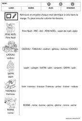 Noël - Lire les mots - Lecture : 1ere, 2eme Maternelle - Cycle Fondamental