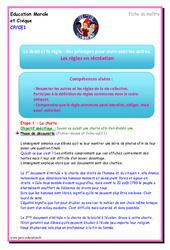 Les règles en récréation - EMC - Fiche de préparation : 1ere, 2eme Primaire