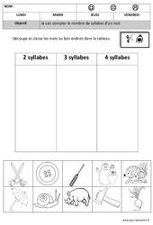 Syllabes- Fiches Classer - Compter - Dessiner - 2 à 4 - Phonologie : 2eme, 3eme Maternelle - Cycle Fondamental