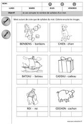 Syllabes - Compter - Dessiner le nombre 1 à 2 - Phonologie : 1ere Maternelle - Cycle Fondamental