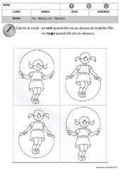 Dessus - Dessous - Espace : 1ere, 2eme Maternelle - Cycle Fondamental