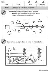 Sur - Dessus - Sous - Espace : 2eme, 3eme Maternelle - Cycle Fondamental