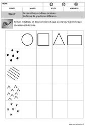 Tableau à double entrée - Forme + graphisme : 2eme, 3eme Maternelle - Cycle Fondamental