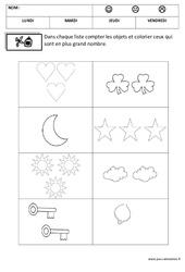Comparer les nombres - Quantités et nombres : 1ere, 2eme Maternelle - Cycle Fondamental