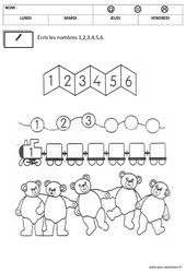 Ecrire les chiffres - Ecriture : 2eme, 3eme Maternelle - Cycle Fondamental
