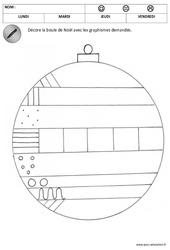 Décore les boules de noël - Graphisme : 1ere, 2eme Maternelle - Cycle Fondamental