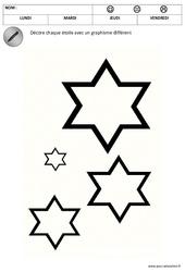 Décore les étoiles - Graphisme - Noël : 1ere, 2eme Maternelle - Cycle Fondamental