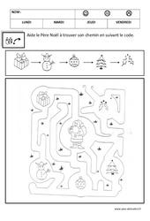 Relier en suivant un code - Logique - Noël : 1ere, 2eme Maternelle - Cycle Fondamental