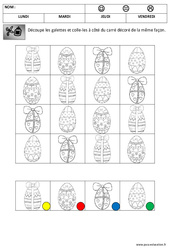Discrimination visuelle - Les oeufs - Pâques : 1ere Maternelle - Cycle Fondamental
