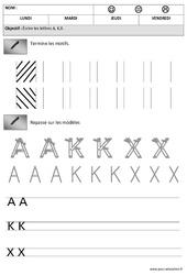 Lettres A,K, X - Obliques : 2eme Maternelle - Cycle Fondamental