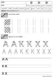 Lettres A,K, X - Obliques : 3eme Maternelle - Cycle Fondamental