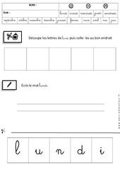 Lundi - Jours de la semaine - Ecriture cursive : 3eme Maternelle - Cycle Fondamental