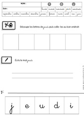 Jeudi - Jours de la semaine - Ecriture cursive : 3eme Maternelle - Cycle Fondamental
