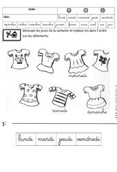 Jours de la semaine - Fiches exercices - Ecriture cursive : 3eme Maternelle - Cycle Fondamental