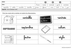 Rentrée - Ecrire des mots en cursive : 3eme Maternelle - Cycle Fondamental