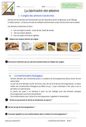 Fabrication des aliments - Exercices : 6eme Primaire