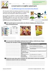 Conservation et hygiène des aliments - Exercices : 6eme Primaire