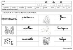Printemps - Ecrire des mots en cursive : 3eme Maternelle - Cycle Fondamental