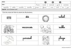 Eté - Ecrire des mots en cursive : 3eme Maternelle - Cycle Fondamental