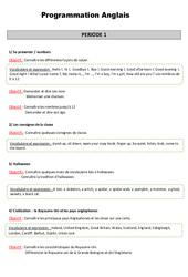 Anglais - Tout le programme période 1 - Famille Vadrouille : 3eme Primaire
