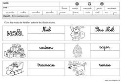 Noël - Ecrire des mots en cursive : 3eme Maternelle - Cycle Fondamental