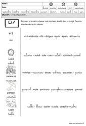 Eté - Lire des mots en cursive : 3eme Maternelle - Cycle Fondamental