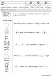 Printemps - Lire des mots en cursive : 3eme Maternelle - Cycle Fondamental