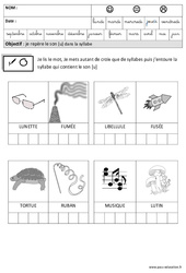 Son [U] dans la syllabe - Phonologie : 3eme Maternelle - Cycle Fondamental