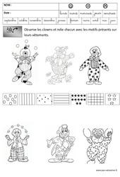 Clowns - Discrimination visuelle - Carnaval : 3eme Maternelle - Cycle Fondamental