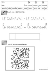 Ecriture - Carnaval : 3eme Maternelle - Cycle Fondamental