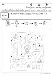 Relier en suivant un code - Logique - Noël : 3eme Maternelle - Cycle Fondamental