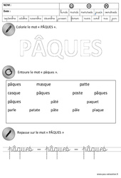 Pâques - Lecture - Ecriture : 3eme Maternelle - Cycle Fondamental