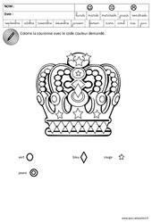 Coloriage codé - Fête des rois - Logique : 3eme Maternelle - Cycle Fondamental