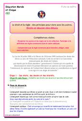 Droits et devoirs des élèves - EMC : 3eme Primaire