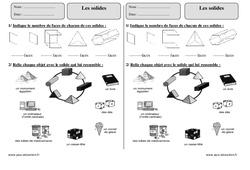 Solides - Exercices corrigés - Géométrie : 3eme Primaire