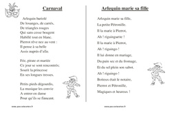Carnaval - Chants - Comptines - Fiches  : 1ere, 2eme, 3eme Maternelle - Cycle Fondamental