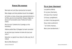 Fêtes des mères - Chants - Comptines - Fiches  : 1ere, 2eme, 3eme Maternelle - Cycle Fondamental
