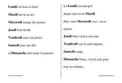 Jours de la semaine - Chants - Comptines - Fiches  : 1ere, 2eme, 3eme Maternelle - Cycle Fondamental