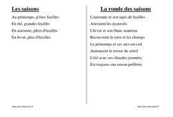 Saisons - Chants - Comptines - Fiches  : 1ere, 2eme, 3eme Maternelle - Cycle Fondamental