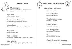 Doigts - Jeux de doigts - Fiches  : 1ere, 2eme, 3eme Maternelle - Cycle Fondamental